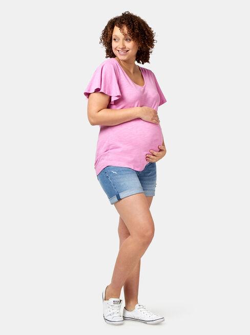 Milli Maternity Distressed Short, Blue, hi-res