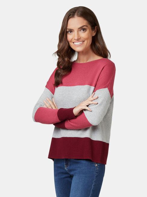 Chloe Colour Block Knit, Pink, hi-res