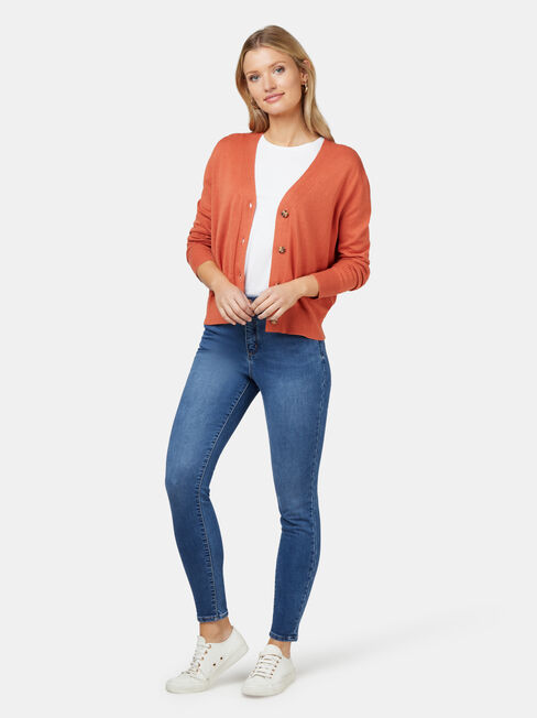 Ava Cropped Cardi, Orange, hi-res