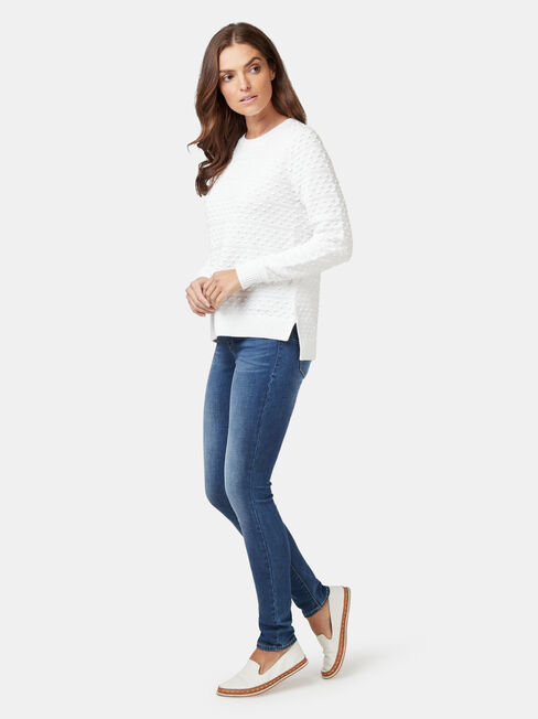 Lyn Linear Bobble Knit, White, hi-res