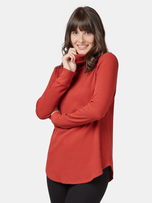 Ally Textured Stand Neck Top, Red, hi-res