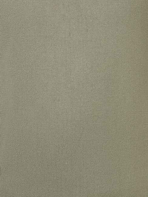 Ezra Funnel Zip Neck Knit, Green, hi-res