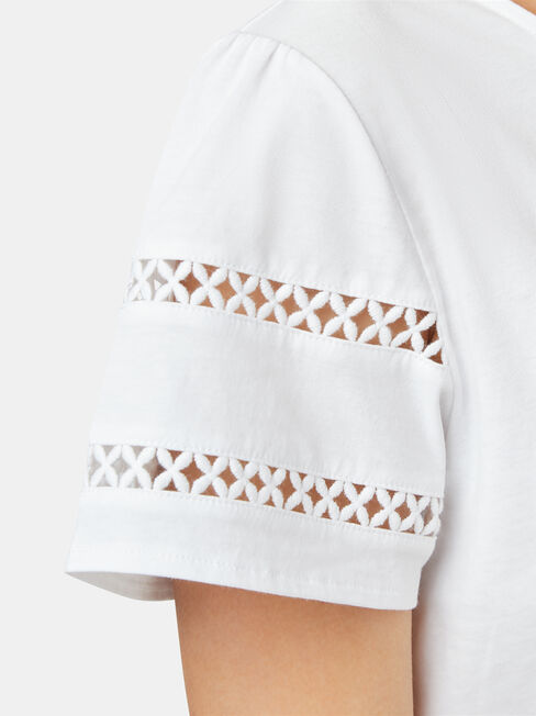 Summer Frill Sleeve Tee, White, hi-res