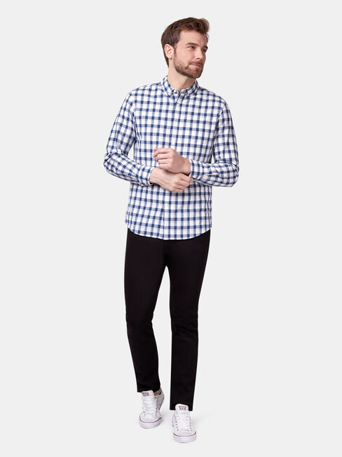 Caleb Long Sleeve Check Shirt, Blue, hi-res