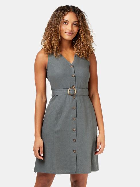 Monique Belted Linen Blend Dress, Green, hi-res