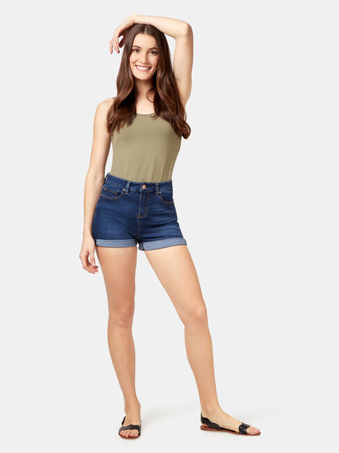 Lola Cotton Basic Tank, Green, hi-res