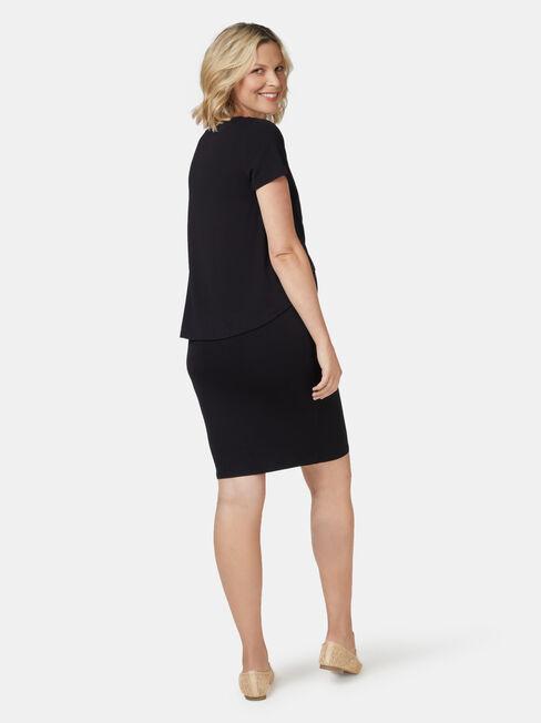Lella Maternity Dress, Black, hi-res