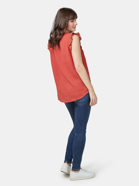 Frida Textured Frill Sleeve Top, Red, hi-res