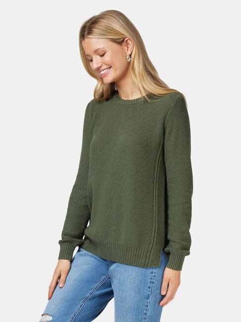 Danielle Honeycomb Pullover, Green, hi-res