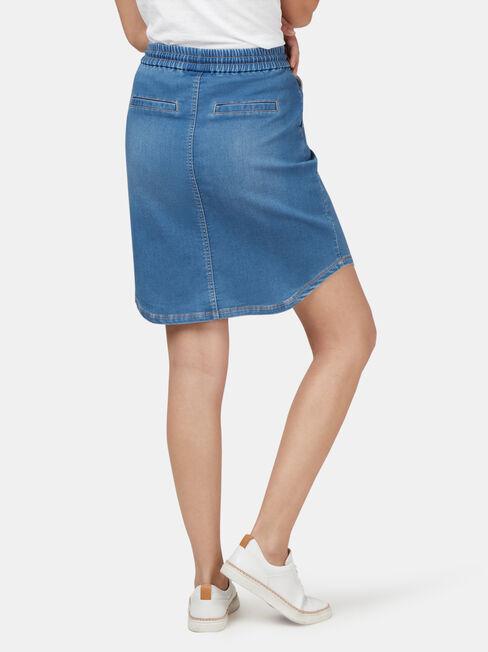 Lulu Luxe Lounge Knee Length Skirt, Light Indigo, hi-res