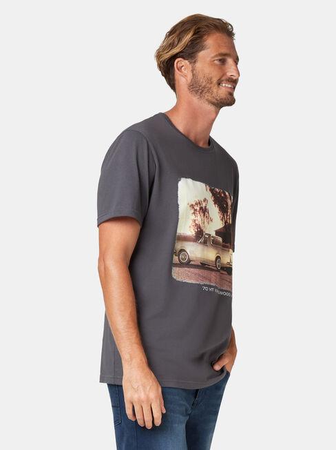 Heath Short Sleeve Print Crew Tee, Grey, hi-res