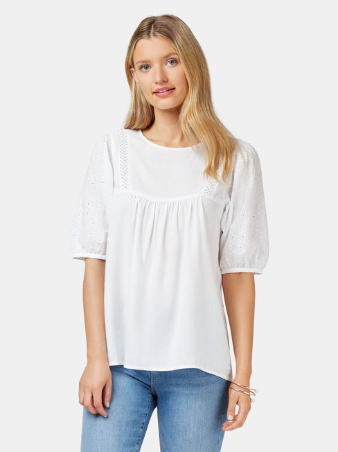 Lilah Broderie Sleeve Blouse, White, hi-res