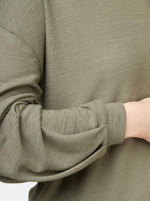 Ella Drop Shoulder Textured Top, Green, hi-res