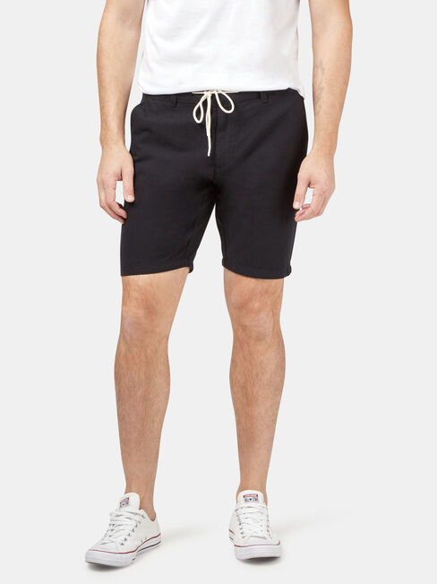 Tommy Tie Front Short, Black, hi-res