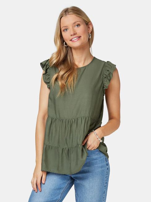 Lory Frill Sleeve Top, Green, hi-res
