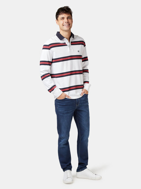 Archer Long Sleeve Rugby Polo, White, hi-res