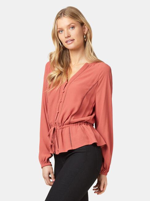 Kora Button Through Blouse, Pink, hi-res