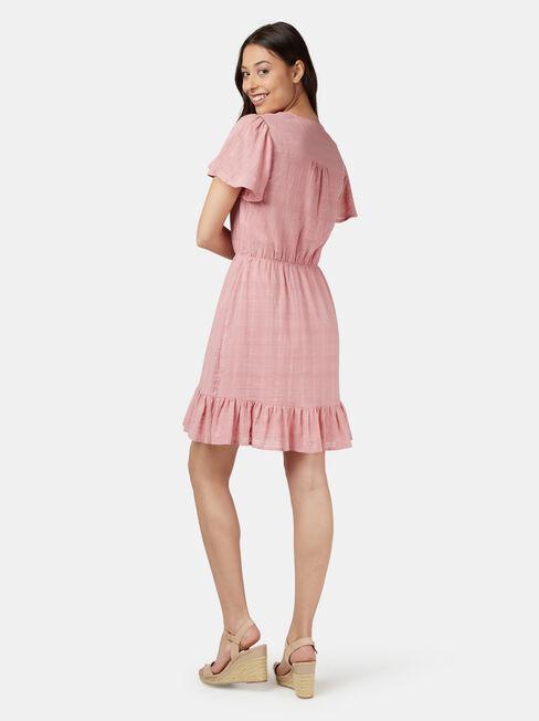 Harmony Flutter Sleeve Dress, Pink, hi-res