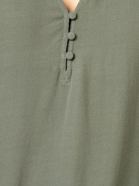 Nina Button Front Blouse, Green, hi-res