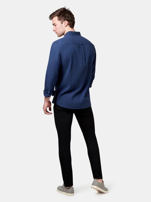 Brando Long Sleeve Textured Shirt, Dark Indigo, hi-res