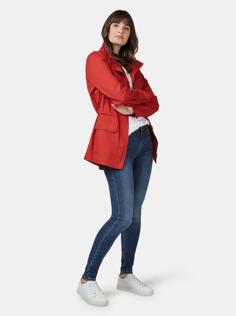 Connie Cotton Casual Jkt, Red, hi-res
