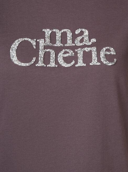 Ma Cherie Slogan Tee, Grey, hi-res
