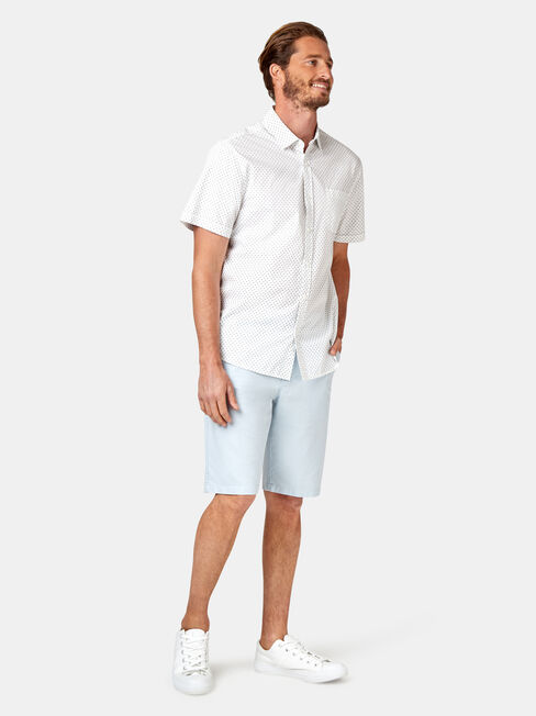 Devon Short Sleeve Print Shirt, White, hi-res