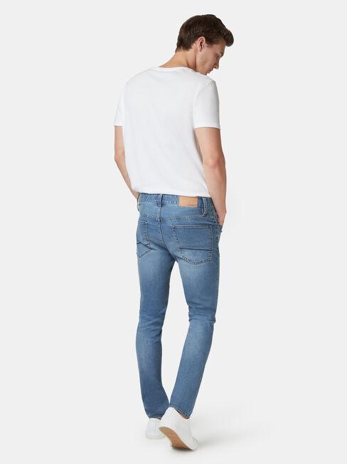 Denim Flex Slim Tapered Jeans Mid Vintage, Light Indigo, hi-res