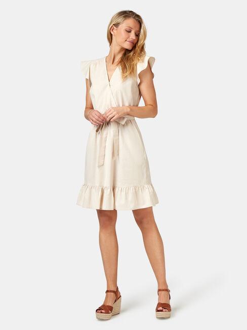 Arianna Ruffle Dress, White, hi-res