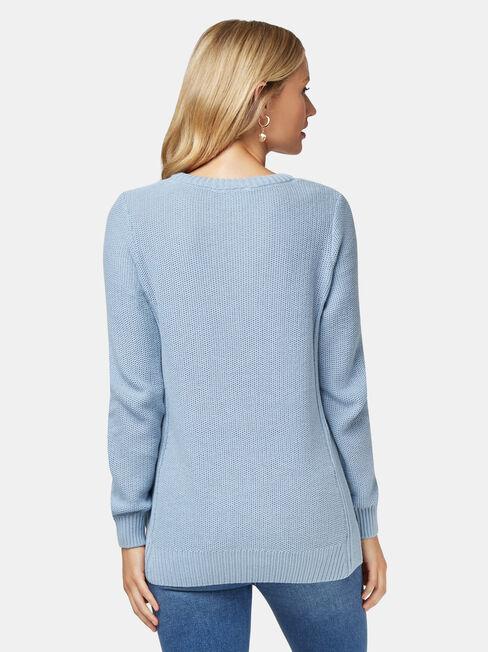 Danielle Honeycomb Pullover, Blue, hi-res