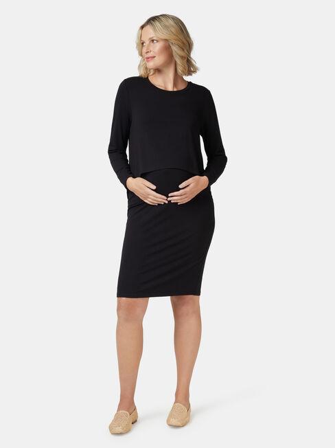 Lina L/S Maternity Dress, Black, hi-res