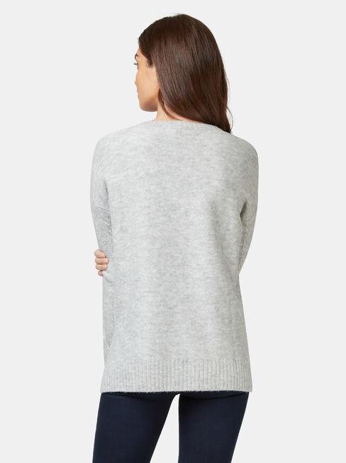 Pia Zig Zag Cable Knit, Grey, hi-res