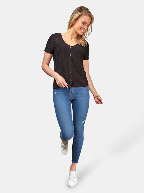 Maddison Lace Tee, Black, hi-res