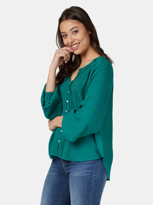 Lana Lace Insert Tie Front Top, Green, hi-res