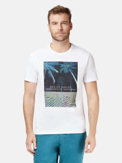 Jay Short Sleeve Print Crew Tee, White, hi-res