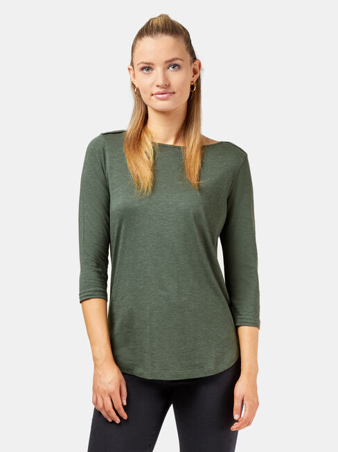 Essential Boatneck Tee, Green, hi-res