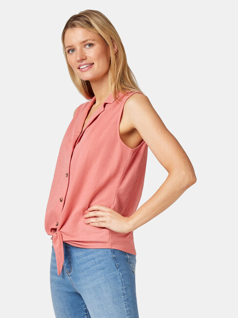Jenny Jersey Sleeve Shirt, Red, hi-res