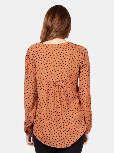 Cassie Blouse, Brown, hi-res