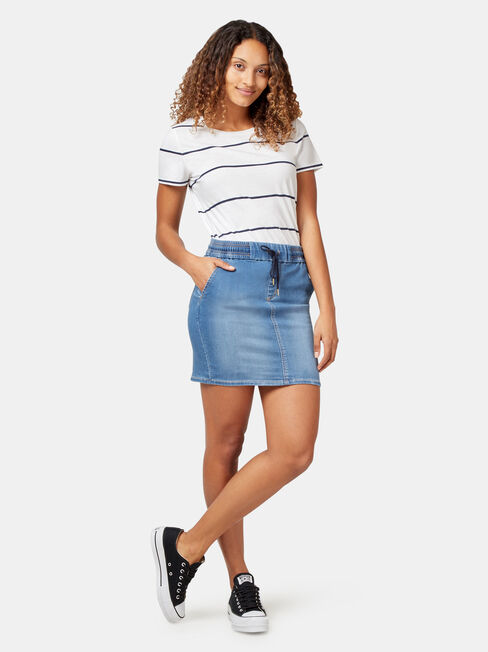 Nina Luxe Lounge Knit Denim Skirt, Blue, hi-res