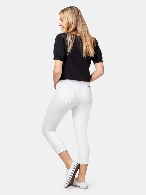 Kia Mid Waisted Skinny Capri, White, hi-res