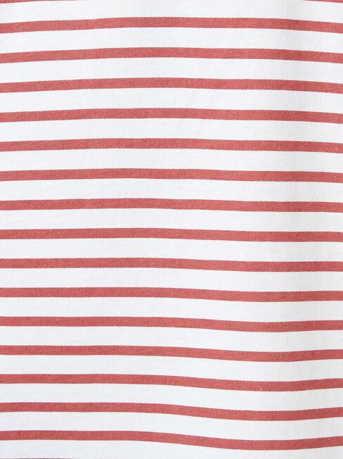 Cannon Short Sleeve Stripe Crew Tee, White, hi-res