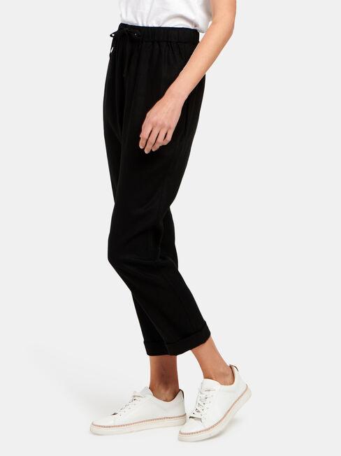 Linen Blend Pant, Black, hi-res