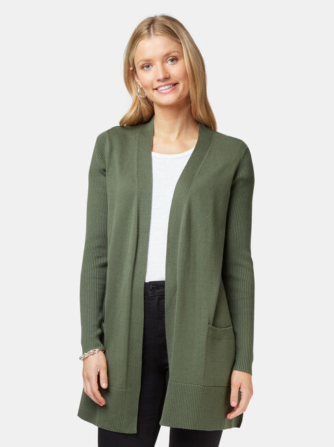 Everlynn Essential Cardigan, Green, hi-res
