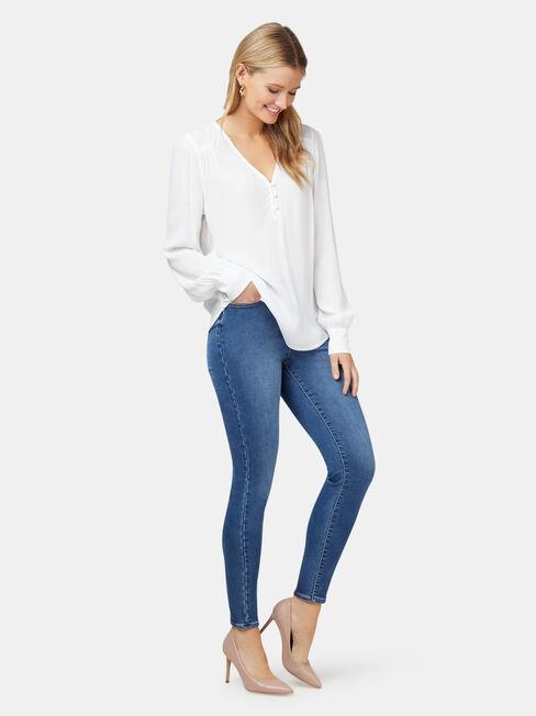 Nina Button Front Blouse, White, hi-res