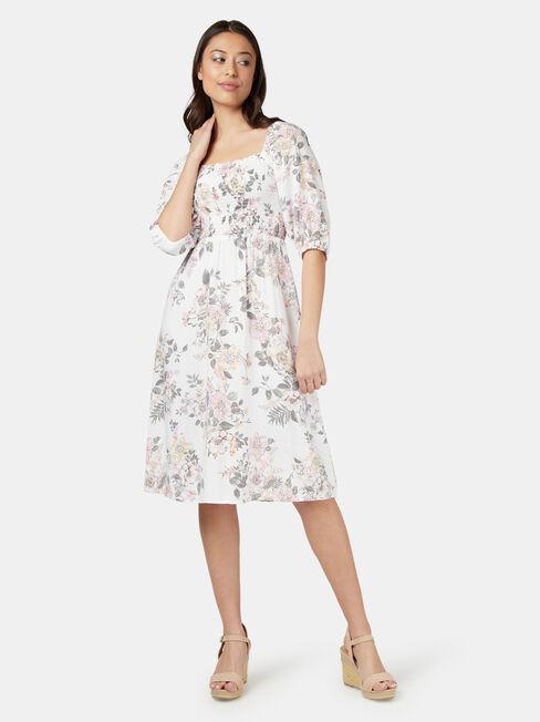 Summer Shirred Bust Dress, White, hi-res
