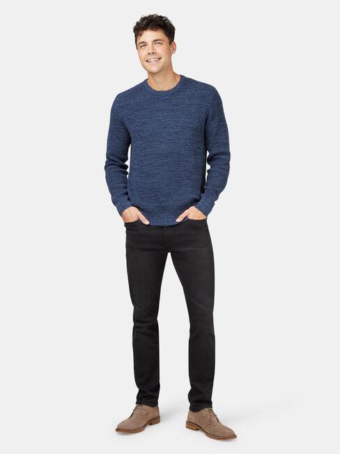 Spencer Textured Crew Knit, Blue, hi-res