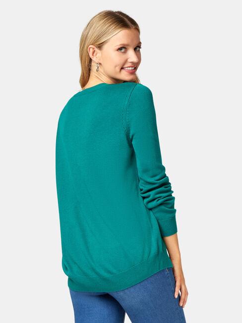 Aspen Essential Curve Hem Pullover, Green, hi-res