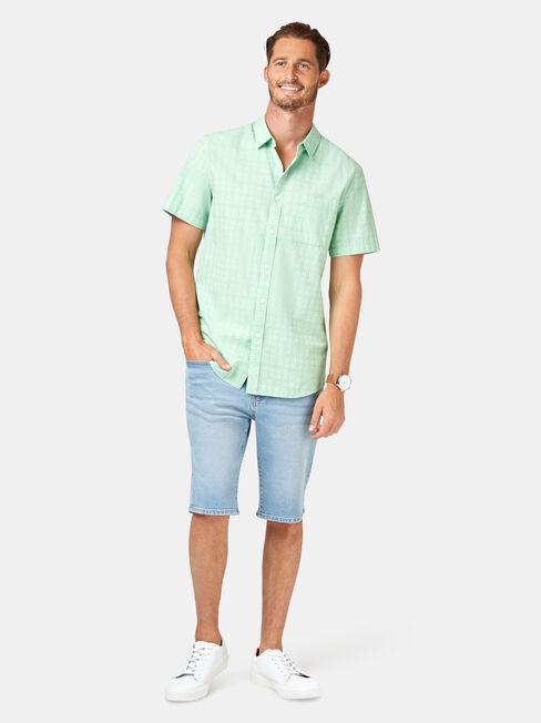 Leon Short Sleeve Textured Shirt, Green, hi-res