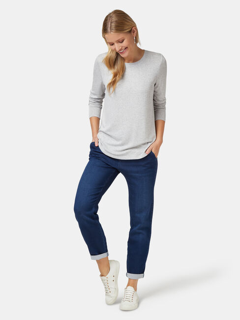 Maddie Soft Touch Curve Hem Pullover, Grey, hi-res