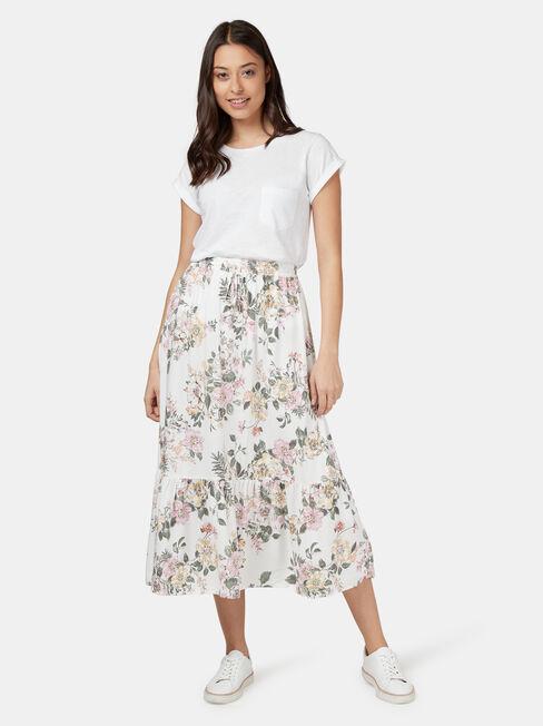 Bailey Midi Skirt, White, hi-res